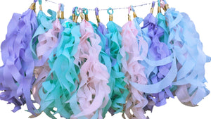 Curly tassel paper garland in pastel colors