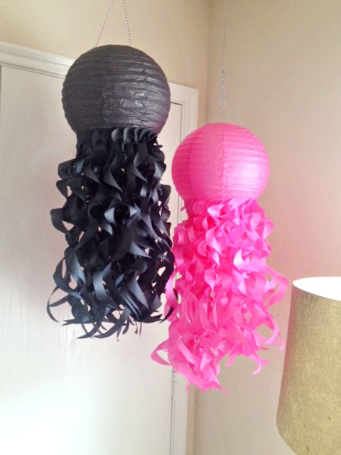 Paper lantern room decorations in pink and black