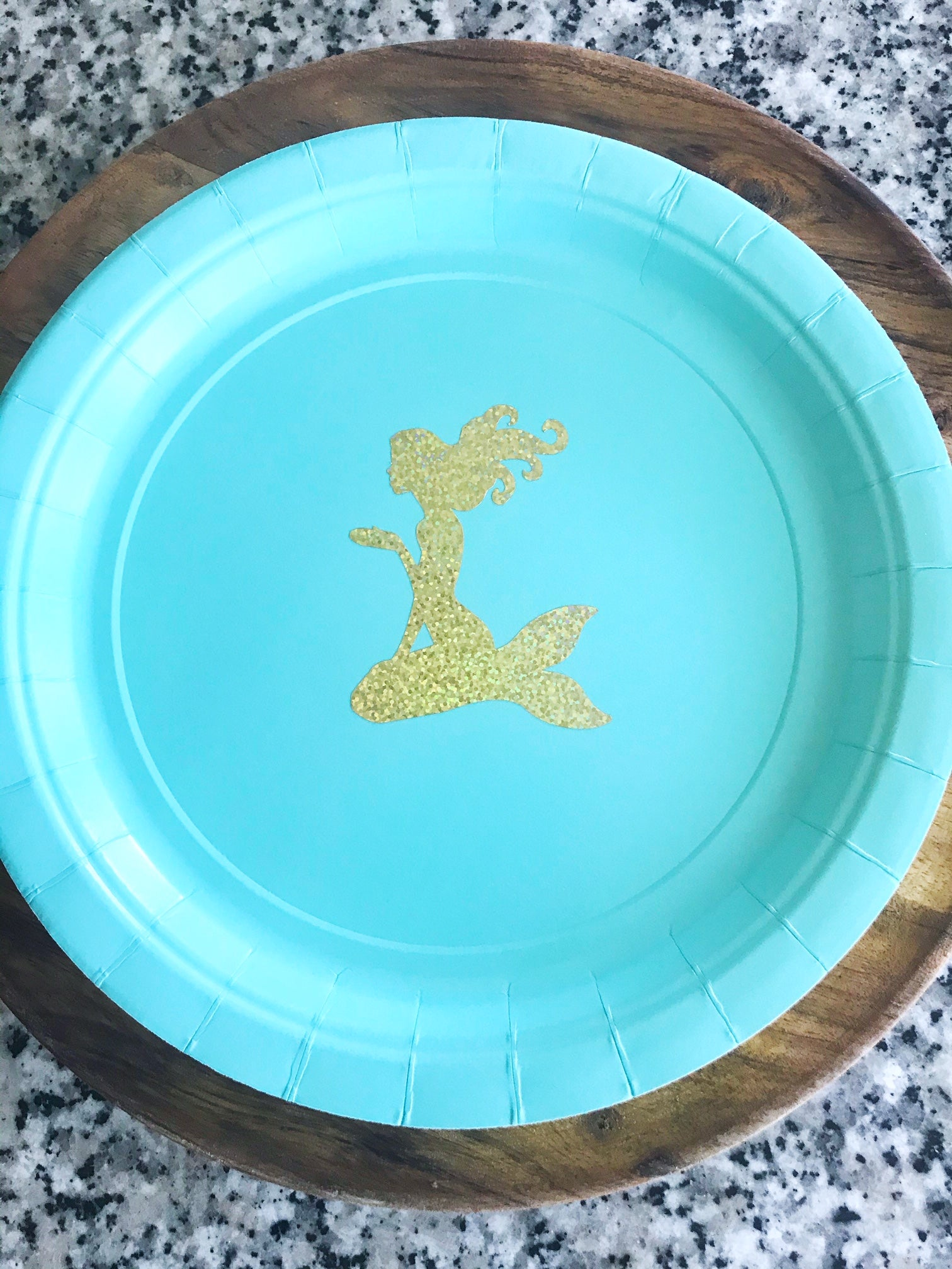 gold foil mermaid plates