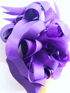 purple curly tissue toss