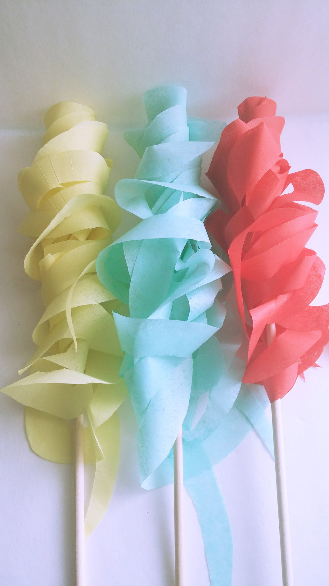 Red, Aqua and Yellow Paper Wand Streamers