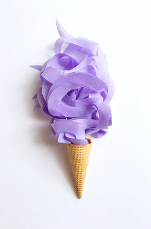 Soft lavender curly tissue paper for gift bags and product packaging