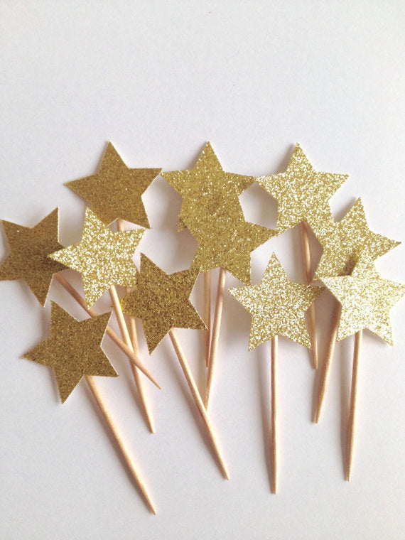 gold glitter star picks