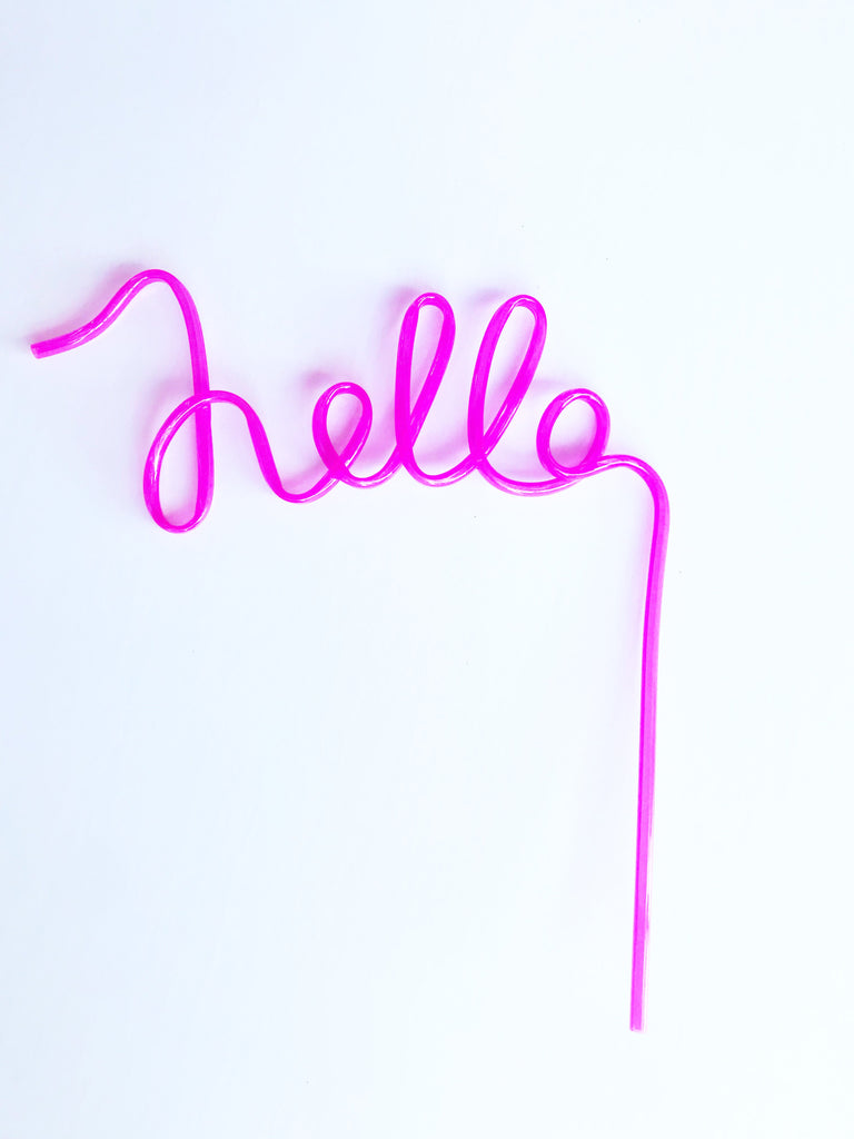 pink hello crazy straws