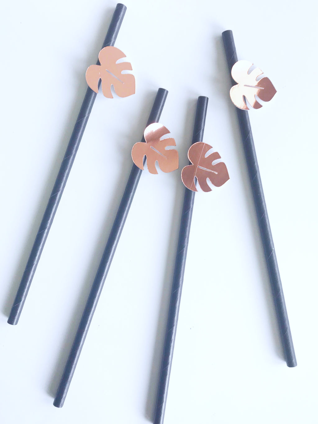 safari party black paper straws with rose gold palm leaf