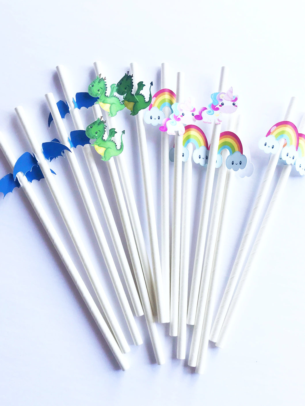 Unicorn and dragon party straws, biodegradable
