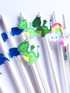 unicorn and dragon party straws