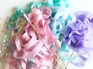 pastel paper wands, unicorn party favors, mermaid party favors