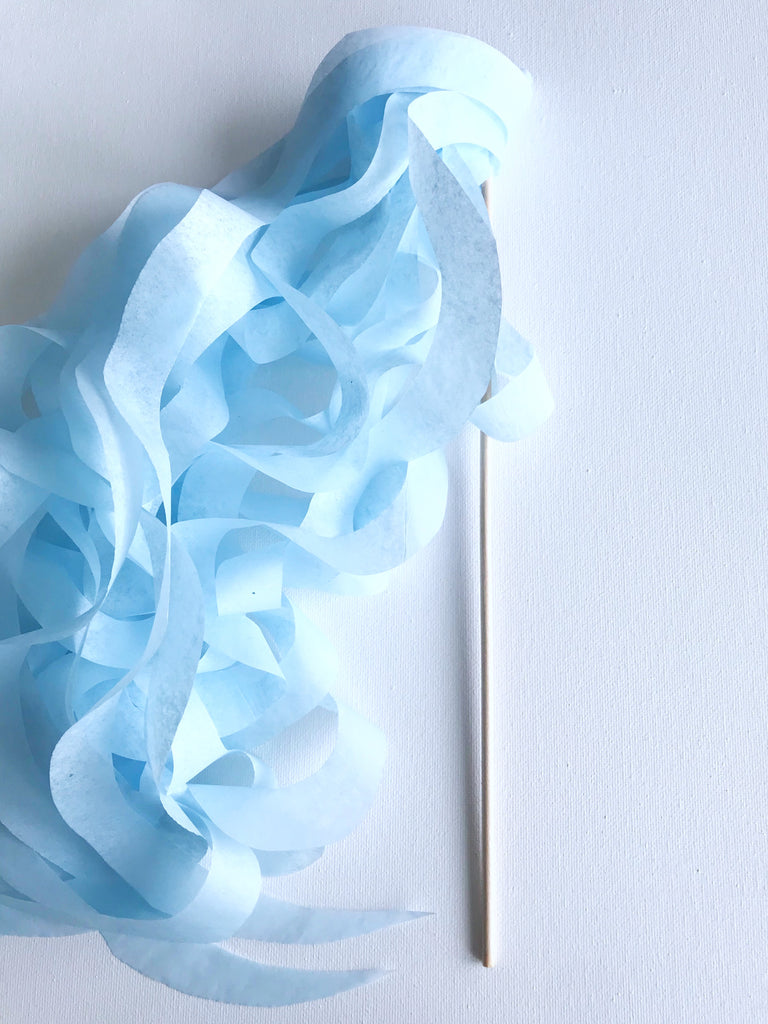 light blue paper streamers, wedding send off
