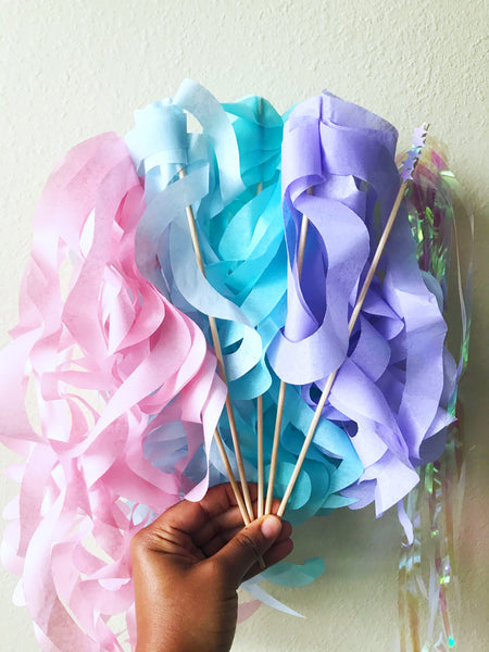pastel wands, unicorn party, mermaid party