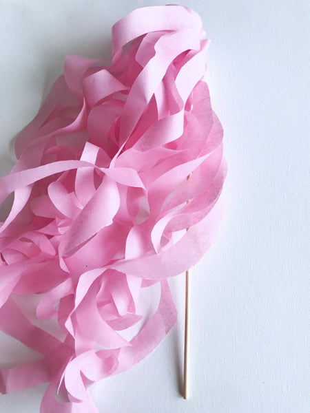 light pink paper wand streamers