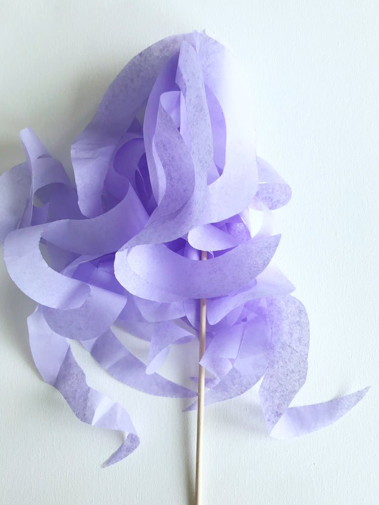 soft lavender paper wand streamers