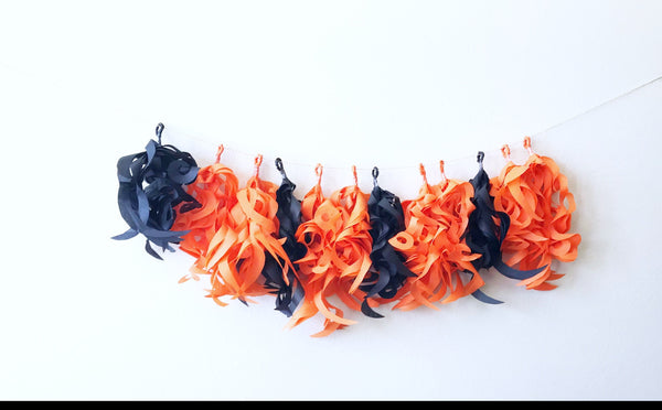 tassel garland made with recycled paper