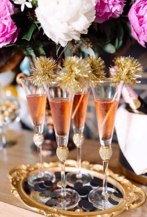 gold tinsel drink stirrers