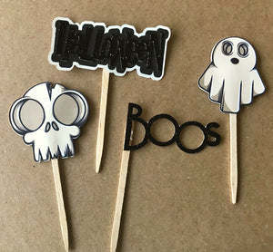 ghost and skull cupcake toppers