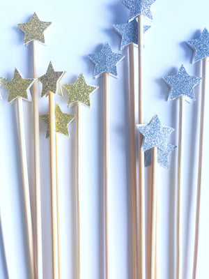 silver and gold star cupcake toppers