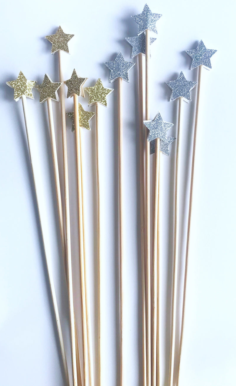 silver and gold glitter star cake toppers
