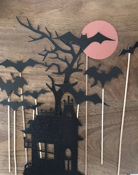 haunted house cupcake and cake toppers