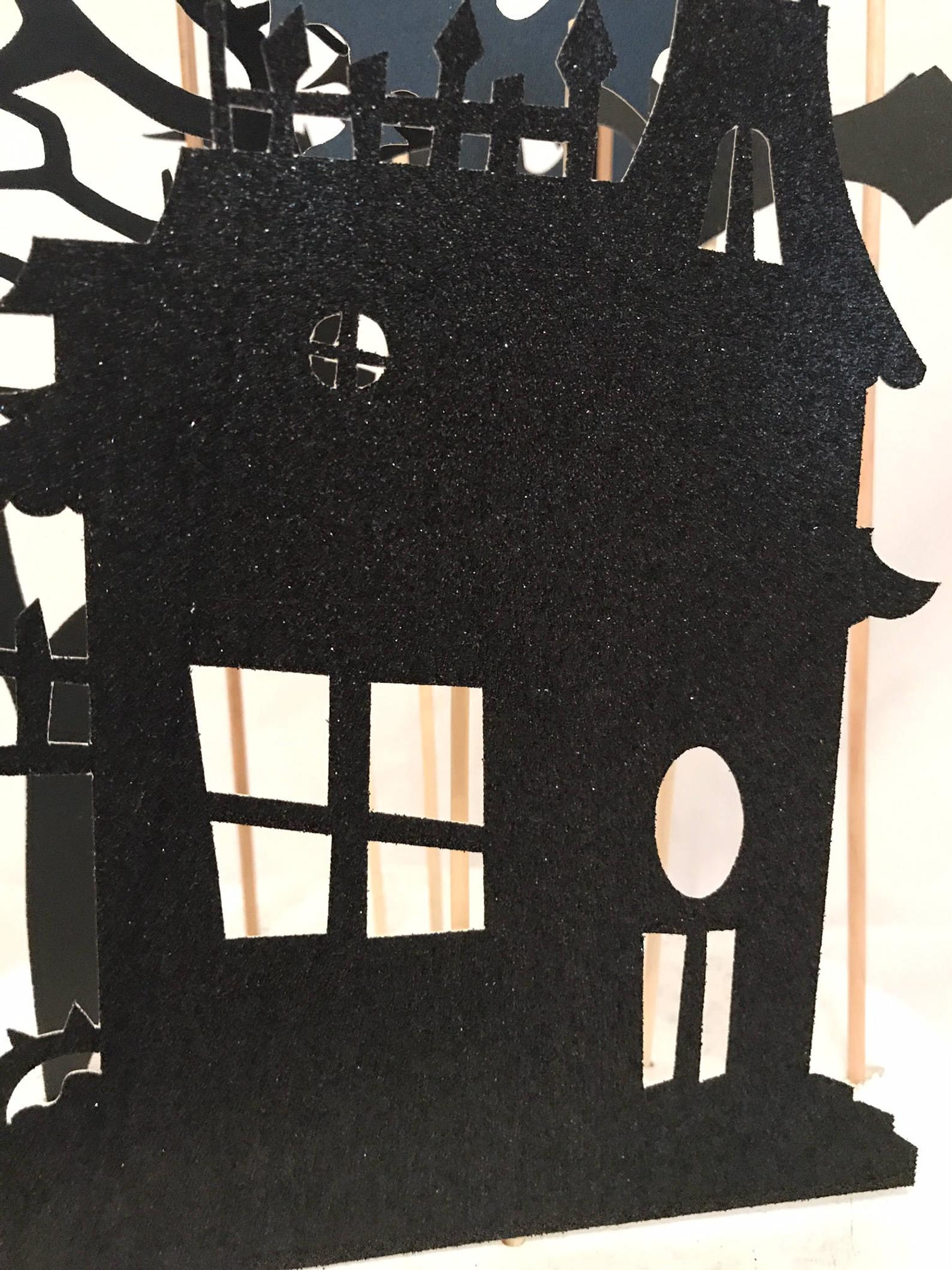black glitter halloween haunted house cake decorations
