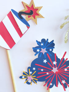 july 4th cupcake picks sparklers