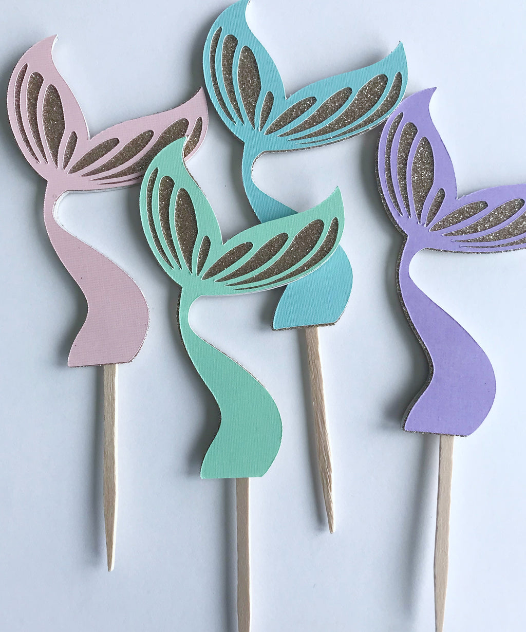 Pastel Mermaid Tail Cupcake Picks