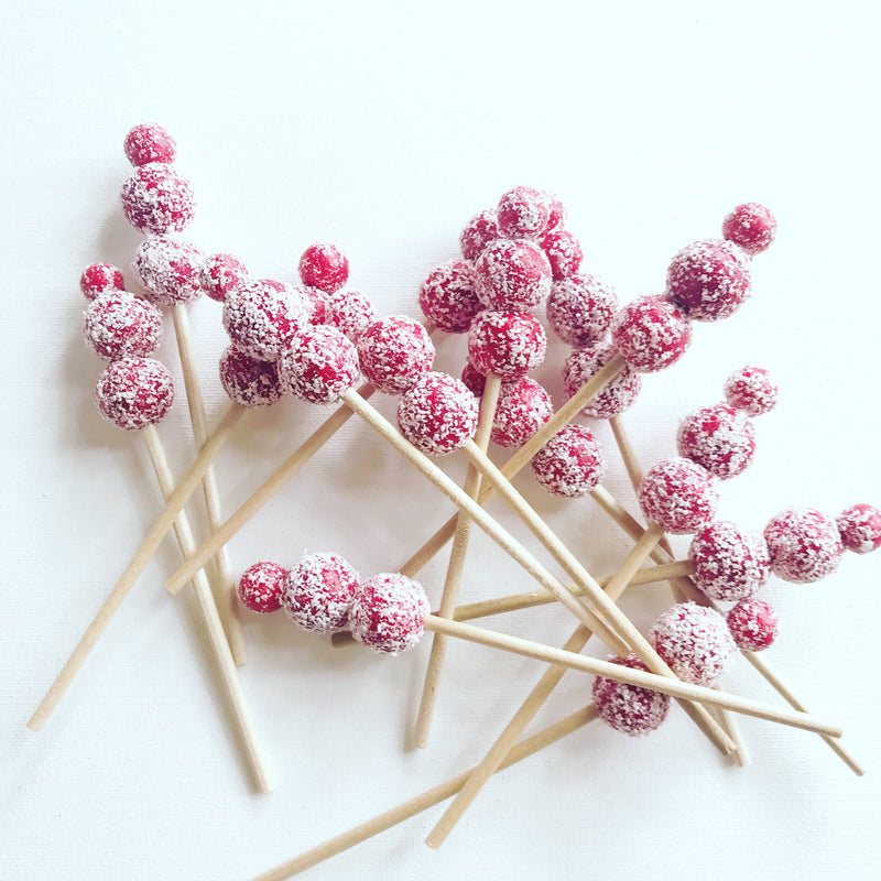 Cocktail Drink Stirrers-Faux Red Berries