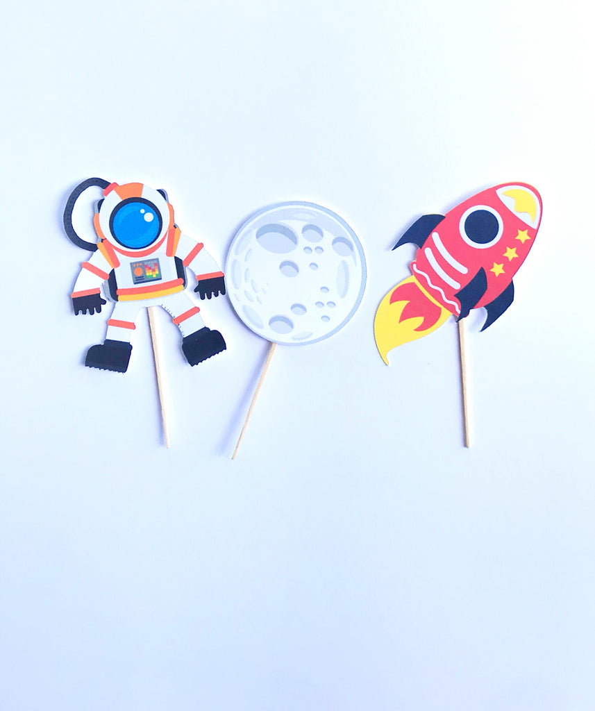 outer space spaceship party cupcake toppers