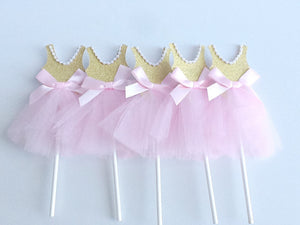 Pink Princess Dress Cupcake Toppers