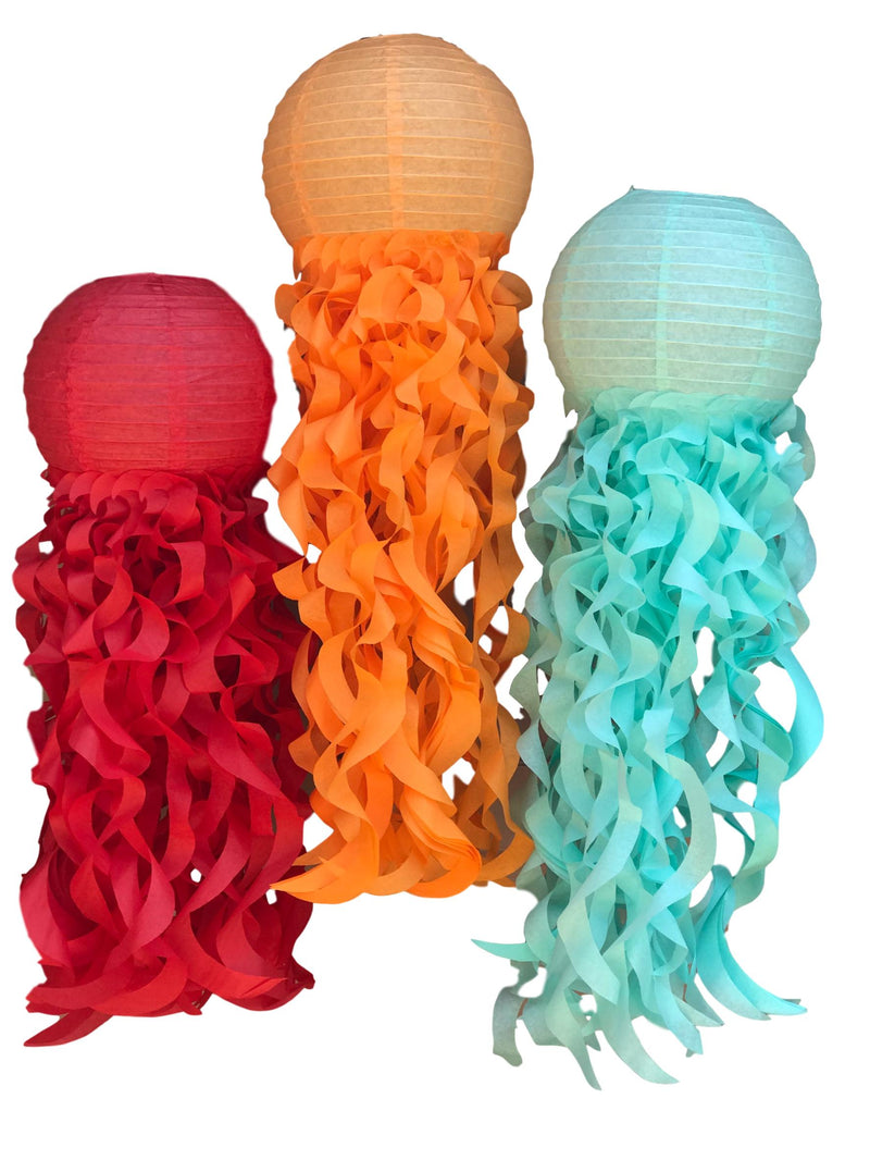 Red, orange and aqua jellyfish paper lanterns