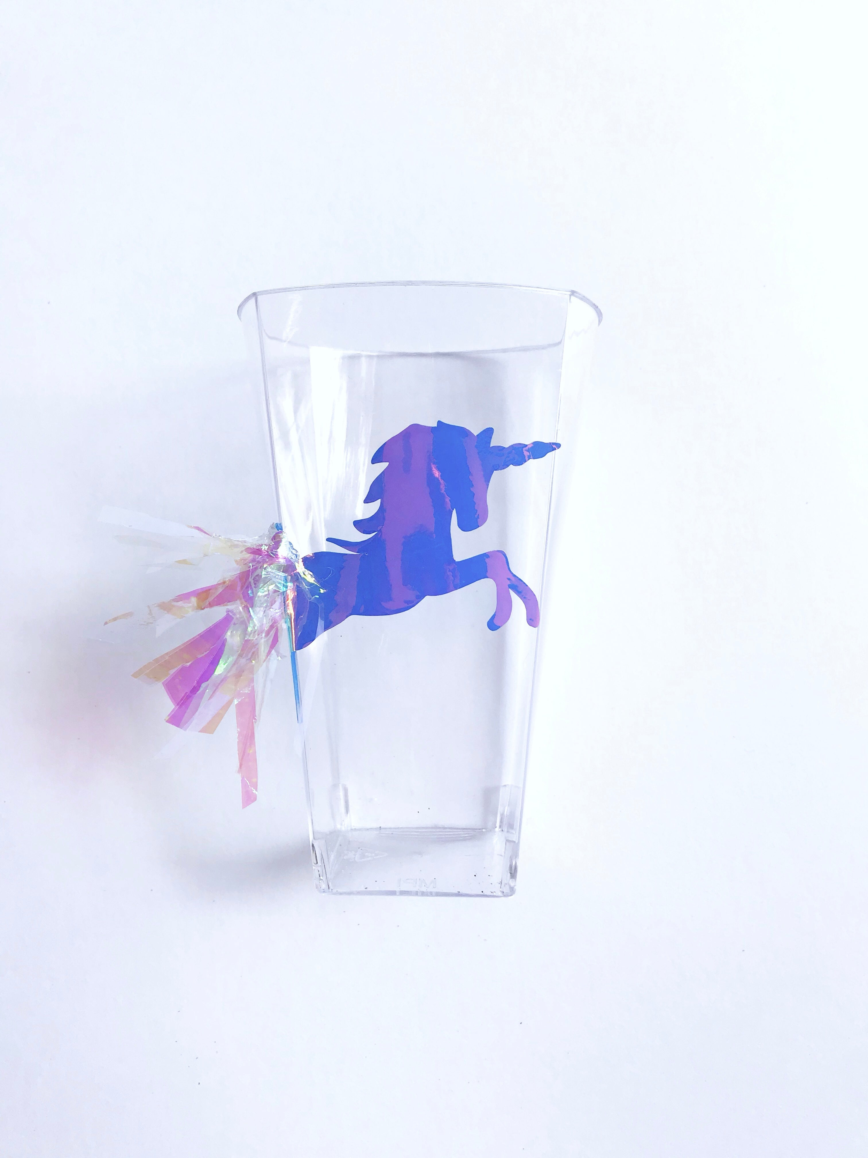 Plastic unicorn party cups