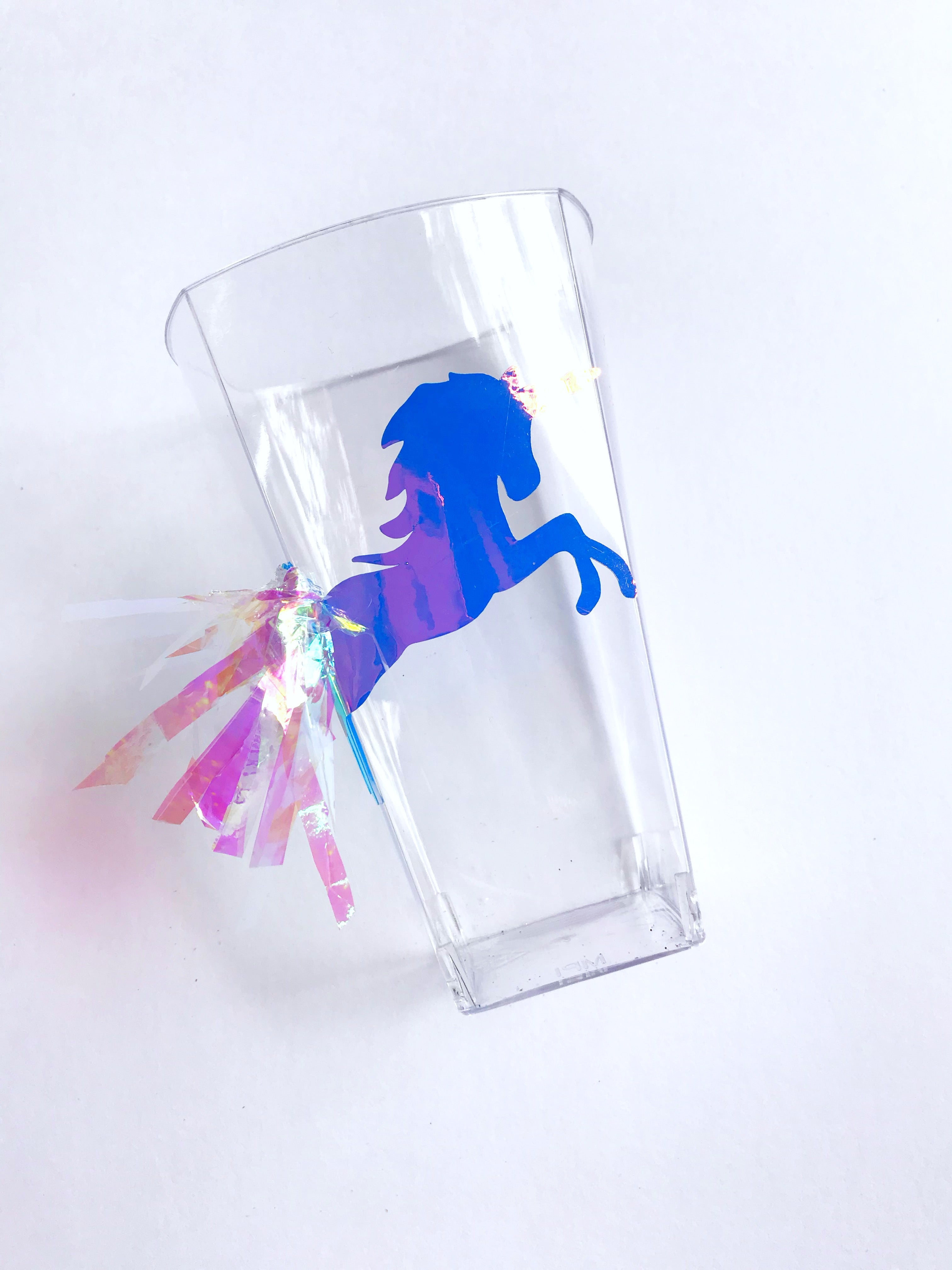 Holographic unicorn cups for unicorn party