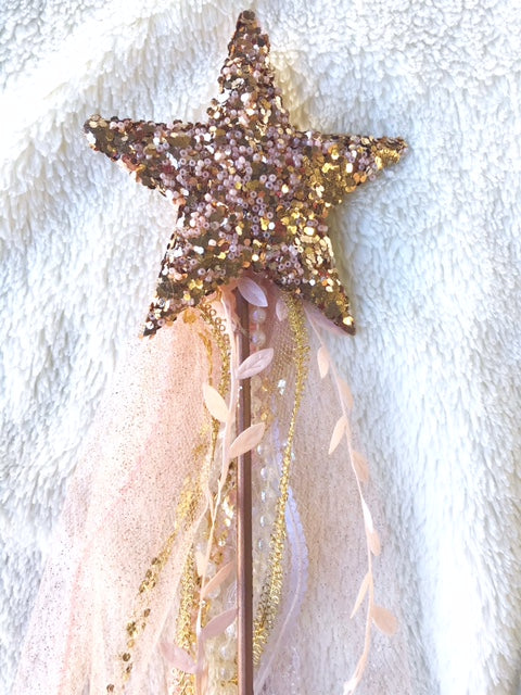 Beaded Rose Gold Star Wooden Wand| Fairy Wand| Whimsical Wand| Pretend Play| Dress Up
