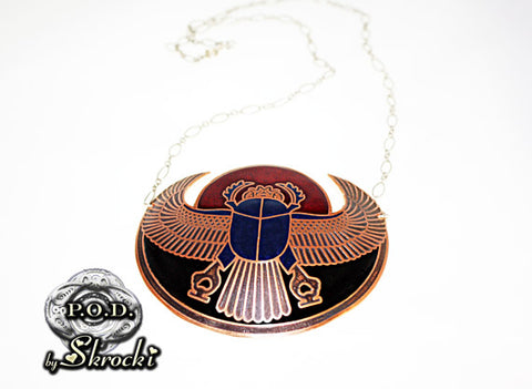 Copper scarab necklace with sterling silver chain