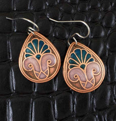 Handmade palm earrings in copper
