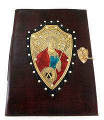 handmade leather and metal archangel michael journal
