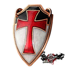 handmade templar cross shield pendant