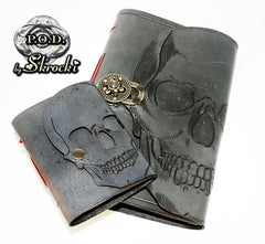 handmade skull leather journal