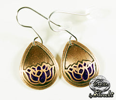 Handmade lotus earrings in brass
