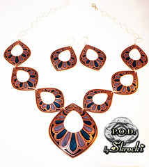 Handmade palm statement necklace in copper