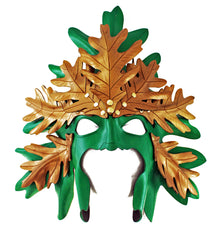 handmade green man leather mask