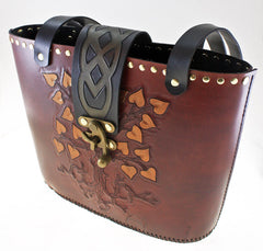 Handmade tree of life leather tote