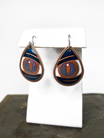 Iridescent Blue/Purple and Blue Dragon Eye Teardrop Earring