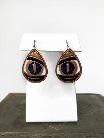 Black and Blue Dragon Eye Teardrop Earring