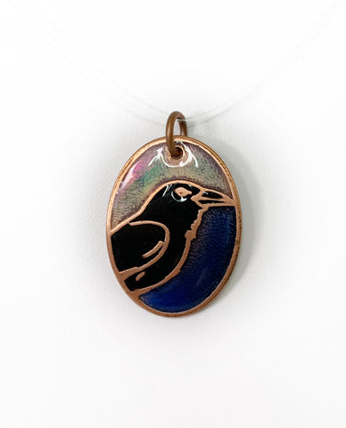 Dual Tone Iridescent and Blue Oval Raven Pendant