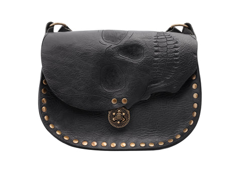 Black skull on flap cross body bag
