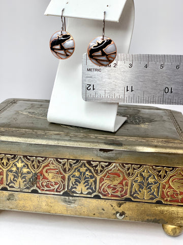 White and Black Flying Raven Earrings in Copper
