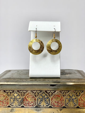 Classical Leather Floral Design Done in Metal - Golden Hoop Earrings