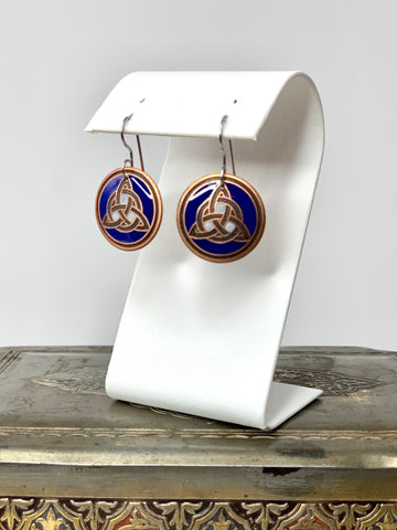 Blue and White Trinity Knot Earrings in Copper