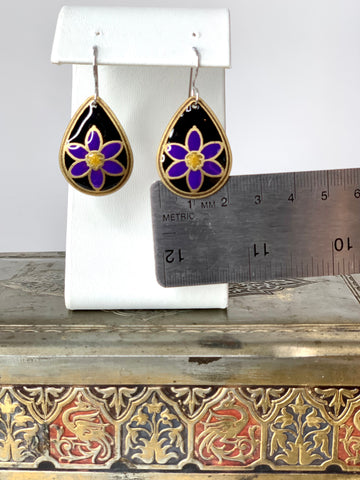 Wildflowers of Alberta and Canada - blue eyed grass earrings in brass