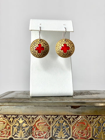 Gothic Cathedral Quatrefoils with Red in Brass